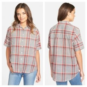 MADEWELL COURIER PLAID BUTTON DOWN SHIRT